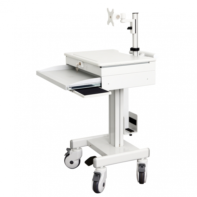Mobile computing cart with monitor Arm