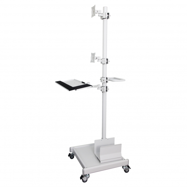 Mobile Cart with two vertical mounted LCD Screen Monitors